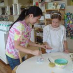 Caitlin Painting Birthday Girls hand for tile