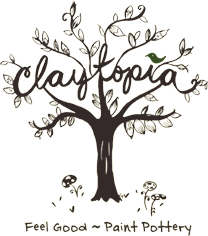 Claytopia Logo Clear Feel Good Paint Pottery