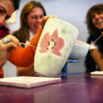 Happy, Smiling Women Painting Pottery